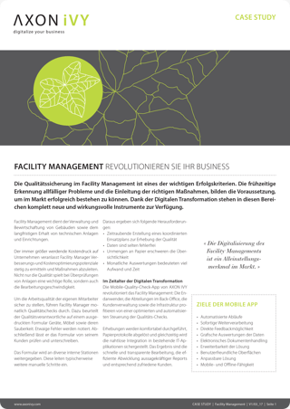 Intelligent quality assurance in facility management